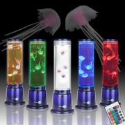 SensoryMoon LED Mood Jellyfish Lamp - Electric Light Up Round Jellyfish Lava Lamp with 4 Moving Fake Jellyfish, 20 Color Remote Control - Artificial Aquarium for Desk, Kids Nightlight