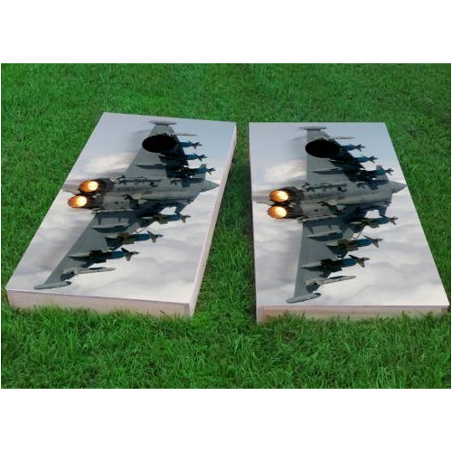 Custom Cornhole Boards Aircraft in Blue Sky Cornhole Game (Set of 2) by Custom Cornhole Boards