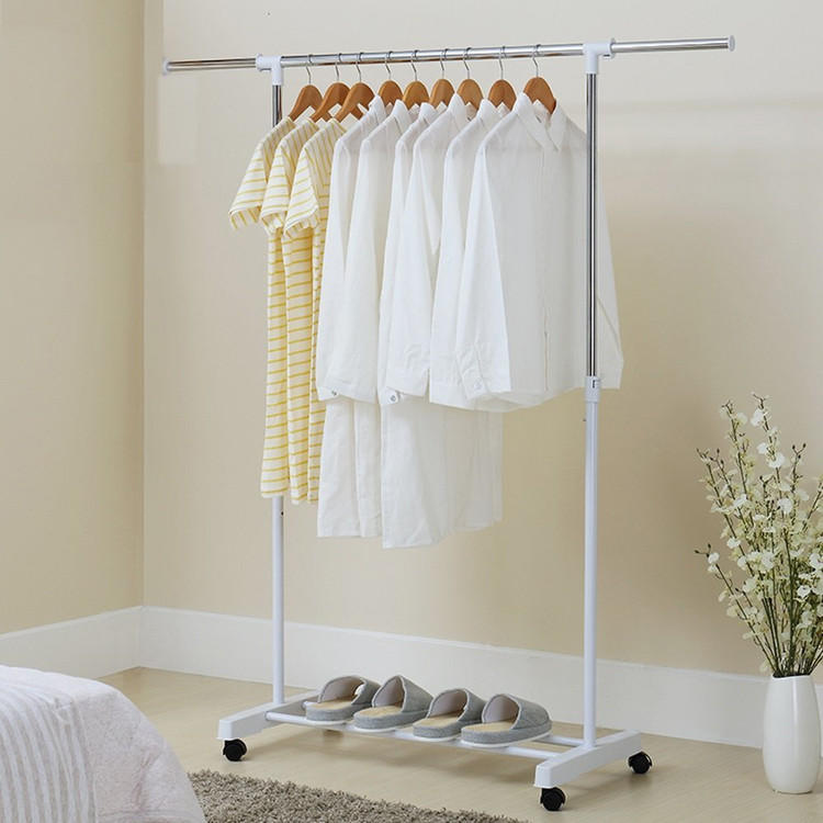 Stainless Clothes Hanger Steel Floor Type Straight Rack Garment Laundry Clothes Clothes Hanger Holder Adjustable Shelves