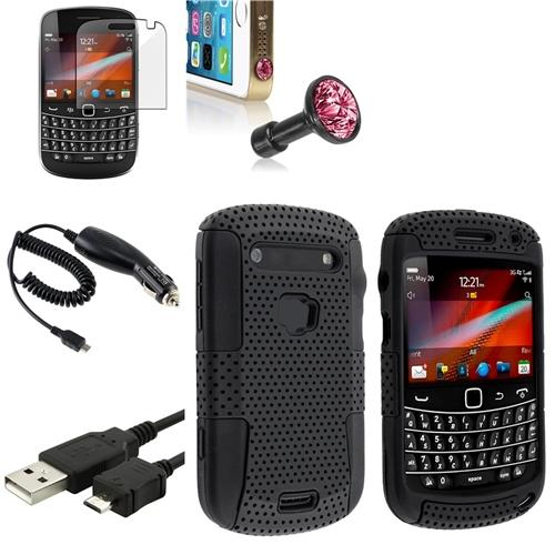 INSTEN Black Mesh Case+Clear SP+Pink Dust Cap 5in1 Combo For BlackBerry Bold 9900 9930