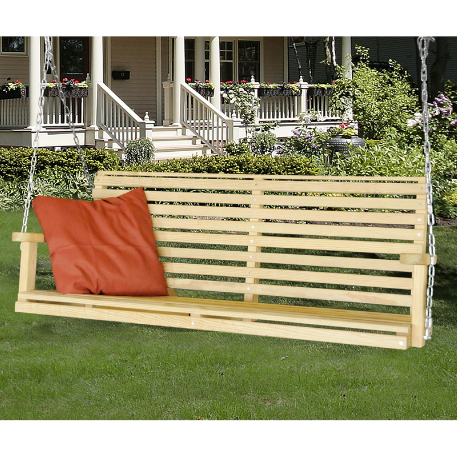 Hershy Way Treated Yellow Pine 5 ft. Classic Porch Swing
