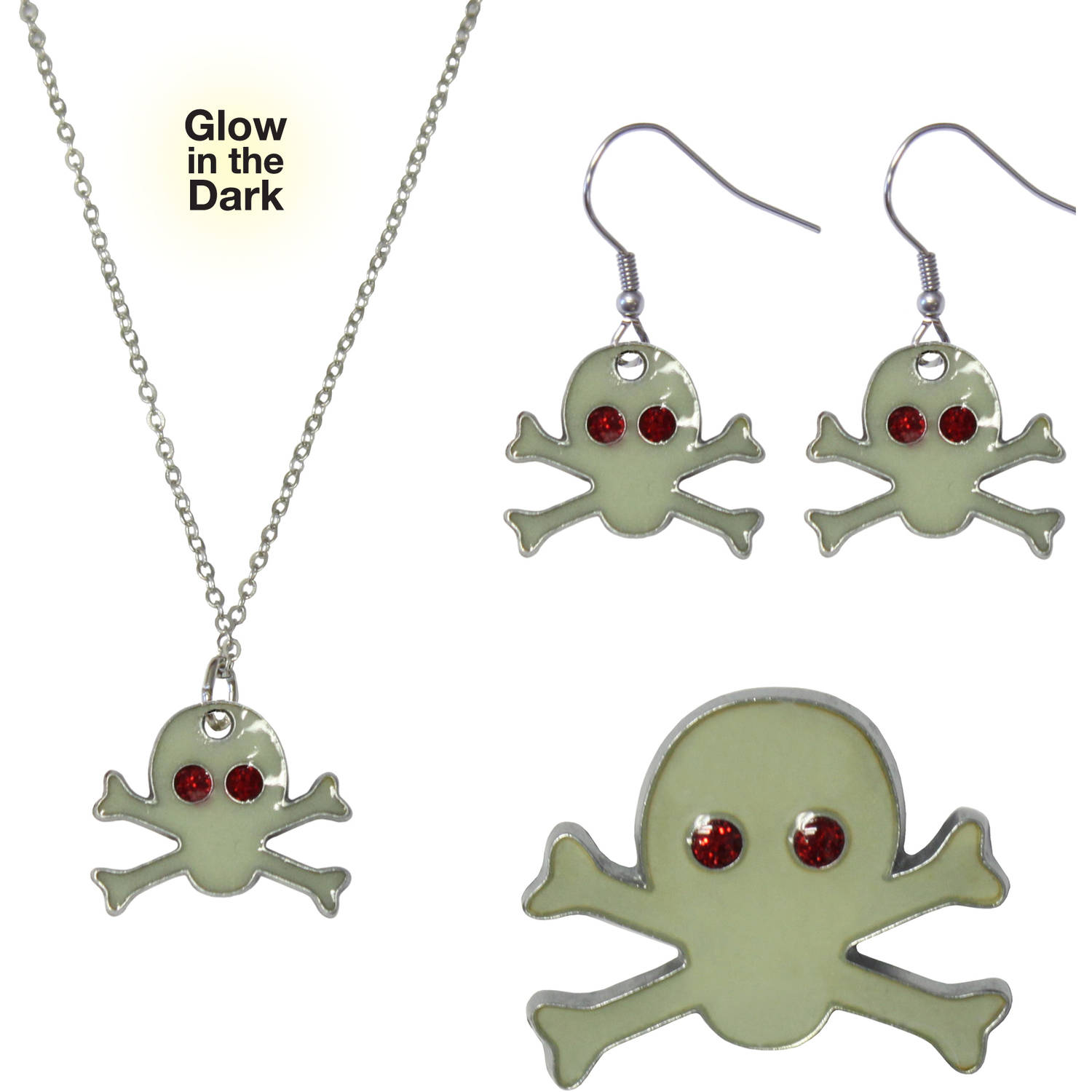 Gloria Duchin Skull and Crossbones Necklace, Earrings and Pin Jewelry Set