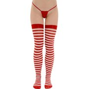 Womens Thigh High Stockings Red and White Striped Socks Thigh High Hosiery Sizes: One Size