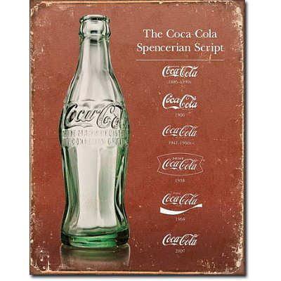Coca-cola Script Heritage Tin Sign Multi-Colored
