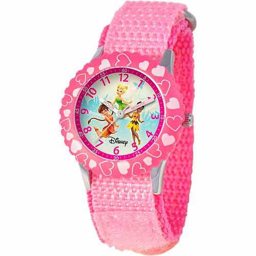 Disney Fairies Girls' Stainless Steel Watch, Pink Strap