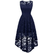 Lvnes Women Vintage Style Floral Lace Sleeveless Hi-Lo Wedding Prom Dress Cocktail Formal Party Swing Dress