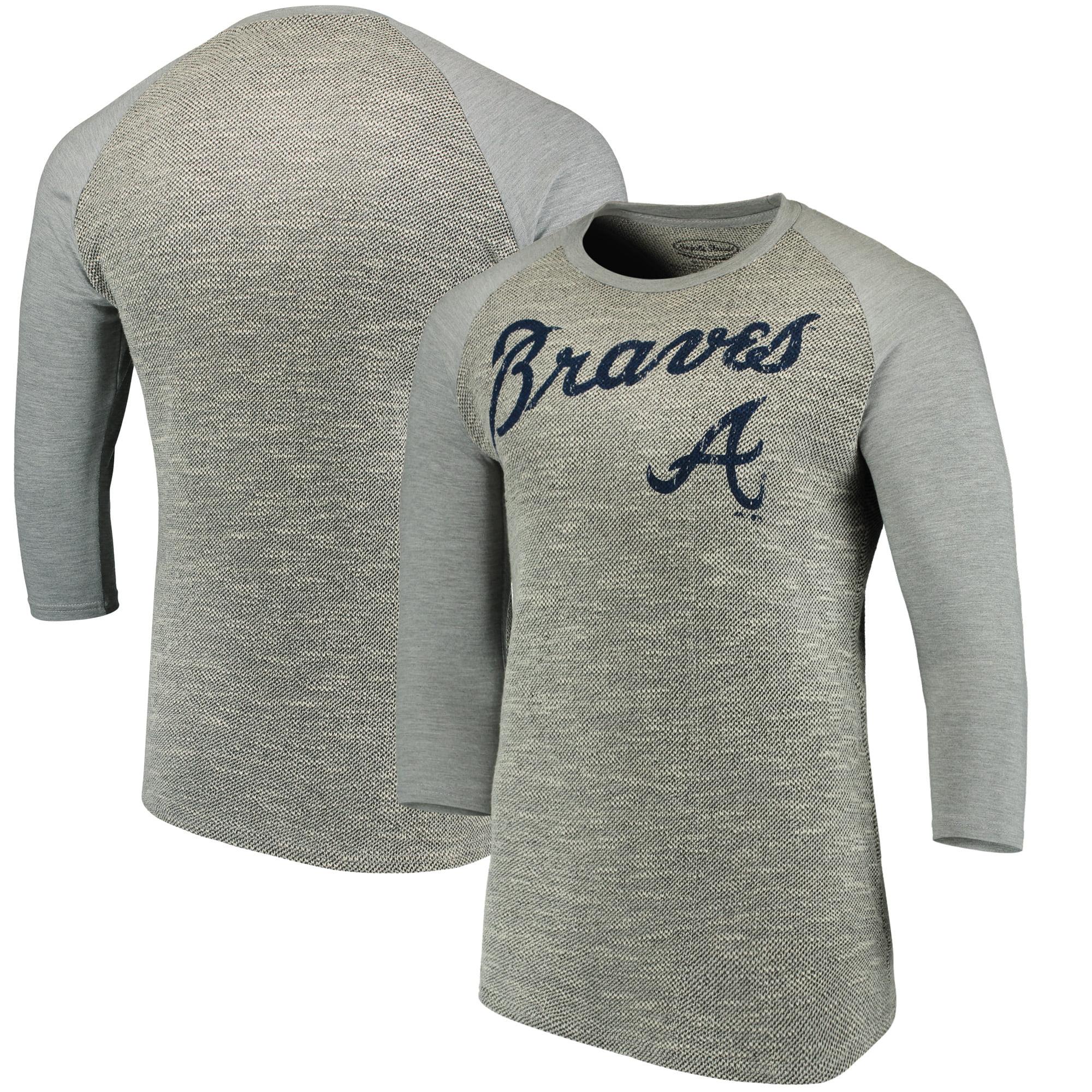 Atlanta Braves Majestic Threads Tri-Yarn French Terry 3/4-Sleeve Raglan T-Shirt - Gray