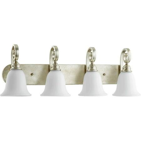 Bathroom Vanity 4 Light With Aged Silver Leaf Finish Medium Base Bulbs 32 inch 400 (Silver Four Leaf)