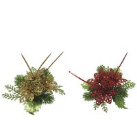 Darice Pine And Poinsettia Pick 7 Inches, 2 Assorted Styles
