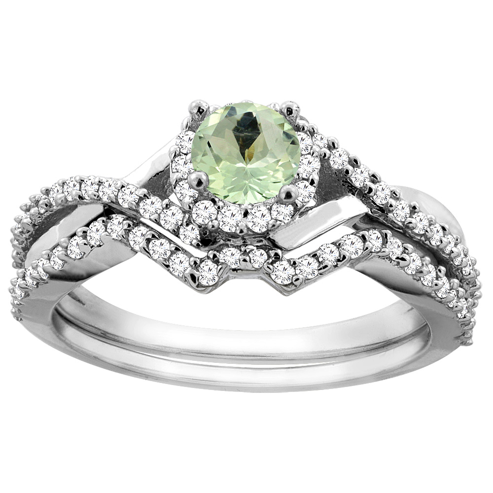 10K Gold Natural Green Amethyst 2-piece Bridal Ring Set Round 5mm, sizes 5 10 by WorldJewels