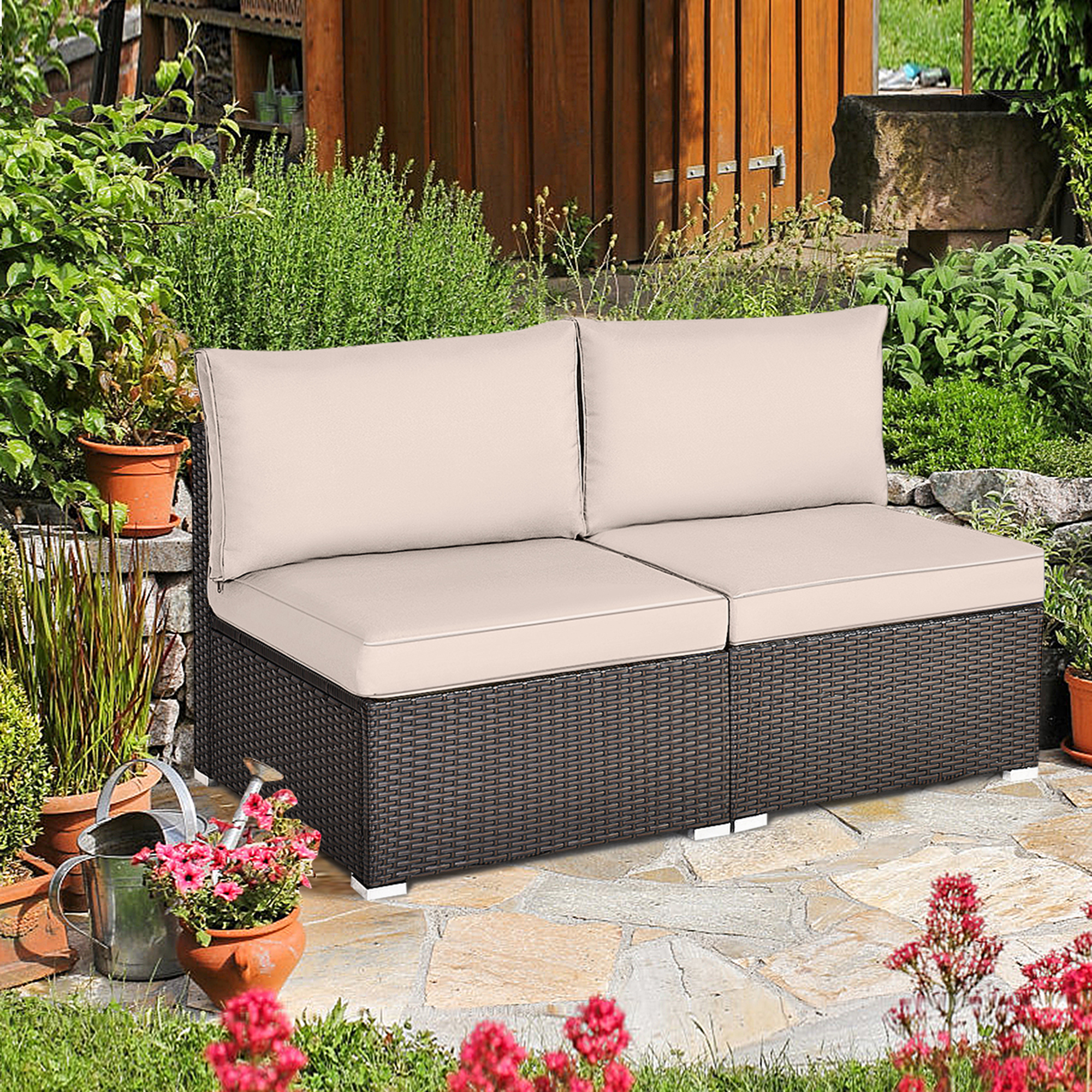 Gymax 2PCS Patio Sectional Armless Sofas Outdoor Rattan ...