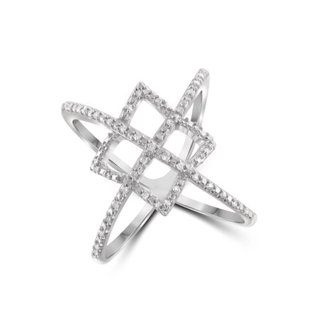 1/7 Carat T.W. White Diamond Sterling Silver Crisscross Ring Diamond Accent Criss Cross Ring