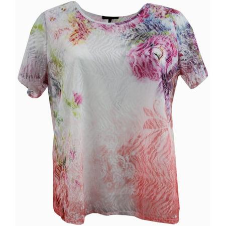 d22564d2c BNY Corner - Women's Plus-Size Short Sleeve Laced Fashion Blouse Tee T  Shirt Top Floral 1X G170.27L BNY Corner - Walmart.com