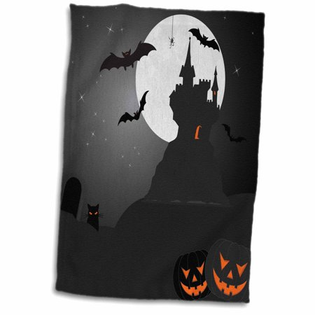 3dRose Halloween Haunted Castle with Pumpkins - Towel, 15 by 22-inch - Haunted Castles Germany Halloween