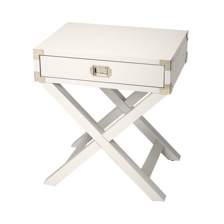 Offex Transitional Rectangular Campaign Side Table - White ()