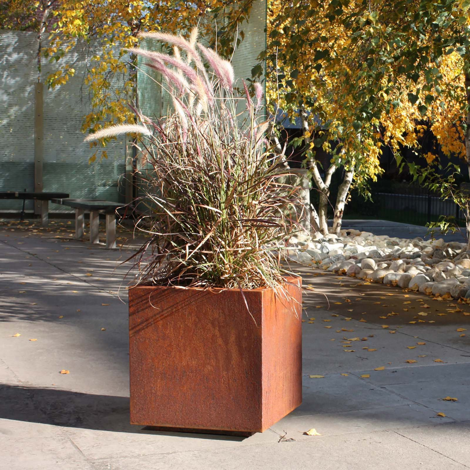 Veradek Metallic Series Cube Planter - Corten Steel