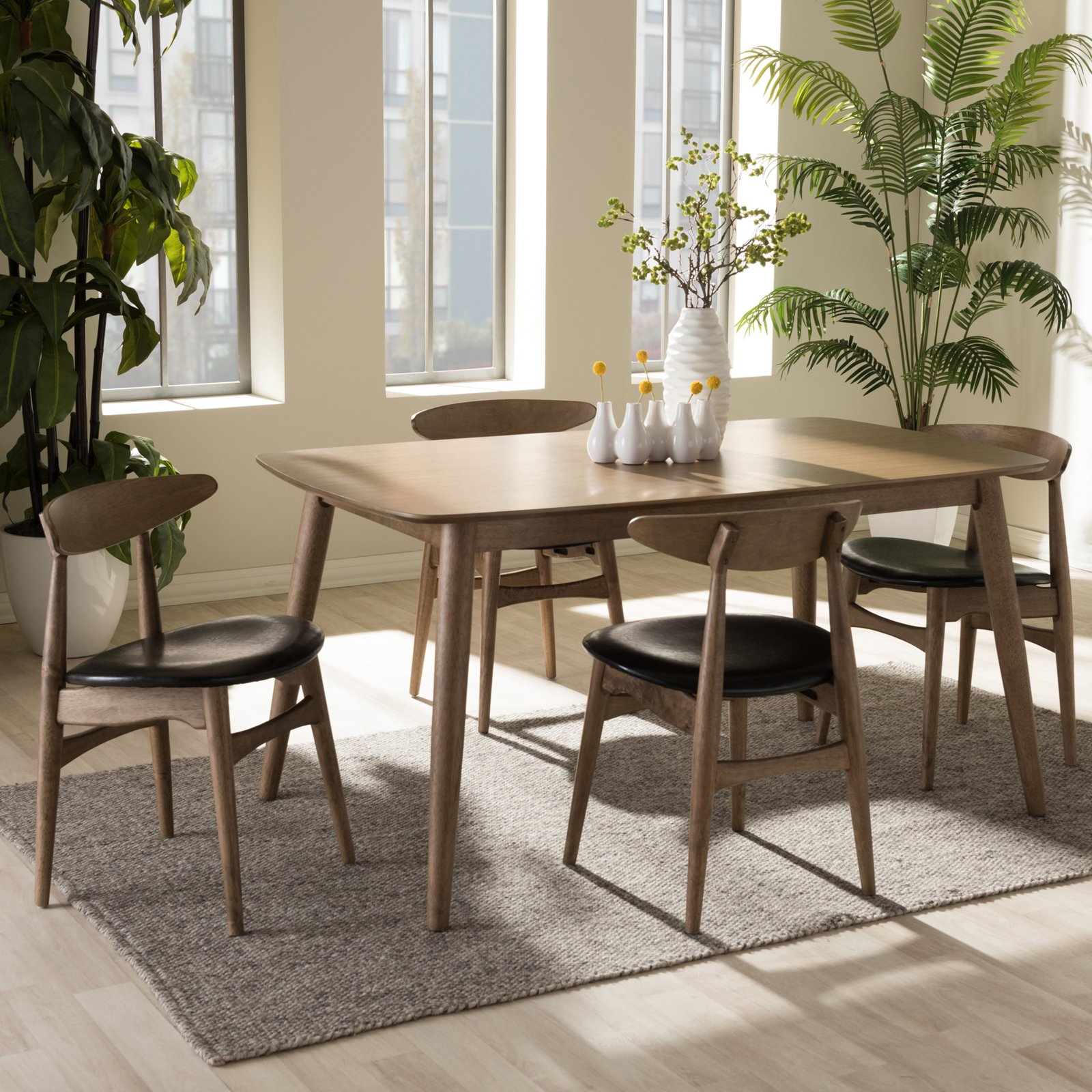 Baxton Studio Edna 5 Piece Dining Table Set : studio dining table set - pezcame.com