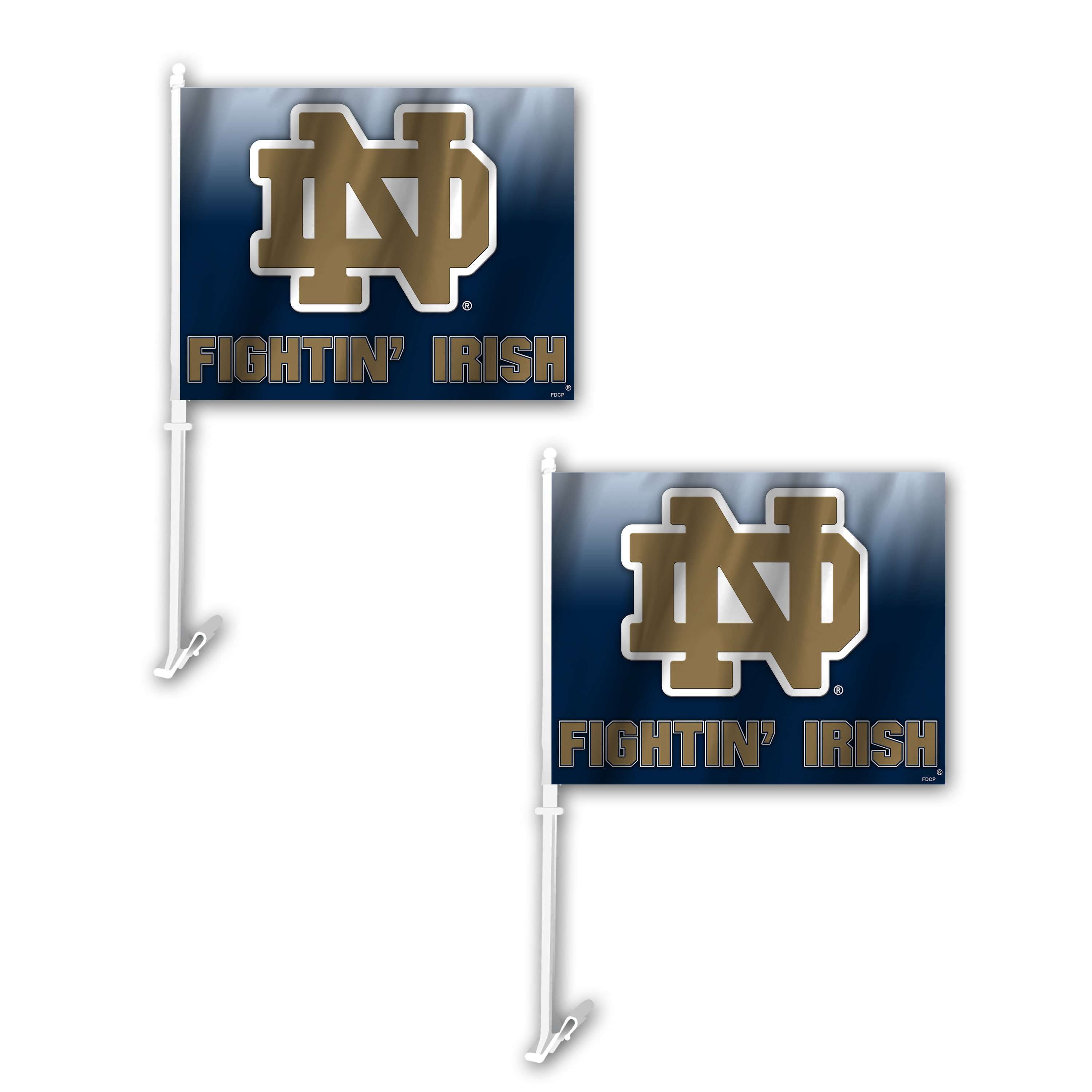 NCAA Notre Dame Fighting Irish Ombre Car Flag 2 Pack