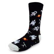 Urban-Peacock Men's Novelty Fun Crew Socks for Dress or Casual - Astronauts & Space - Black