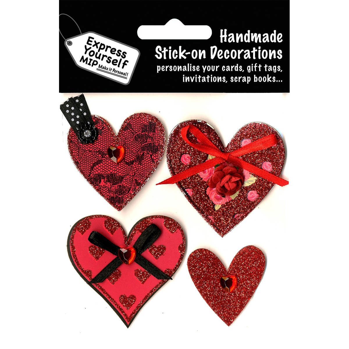 Express Yourself MIP 3D Stickers-4 Hearts