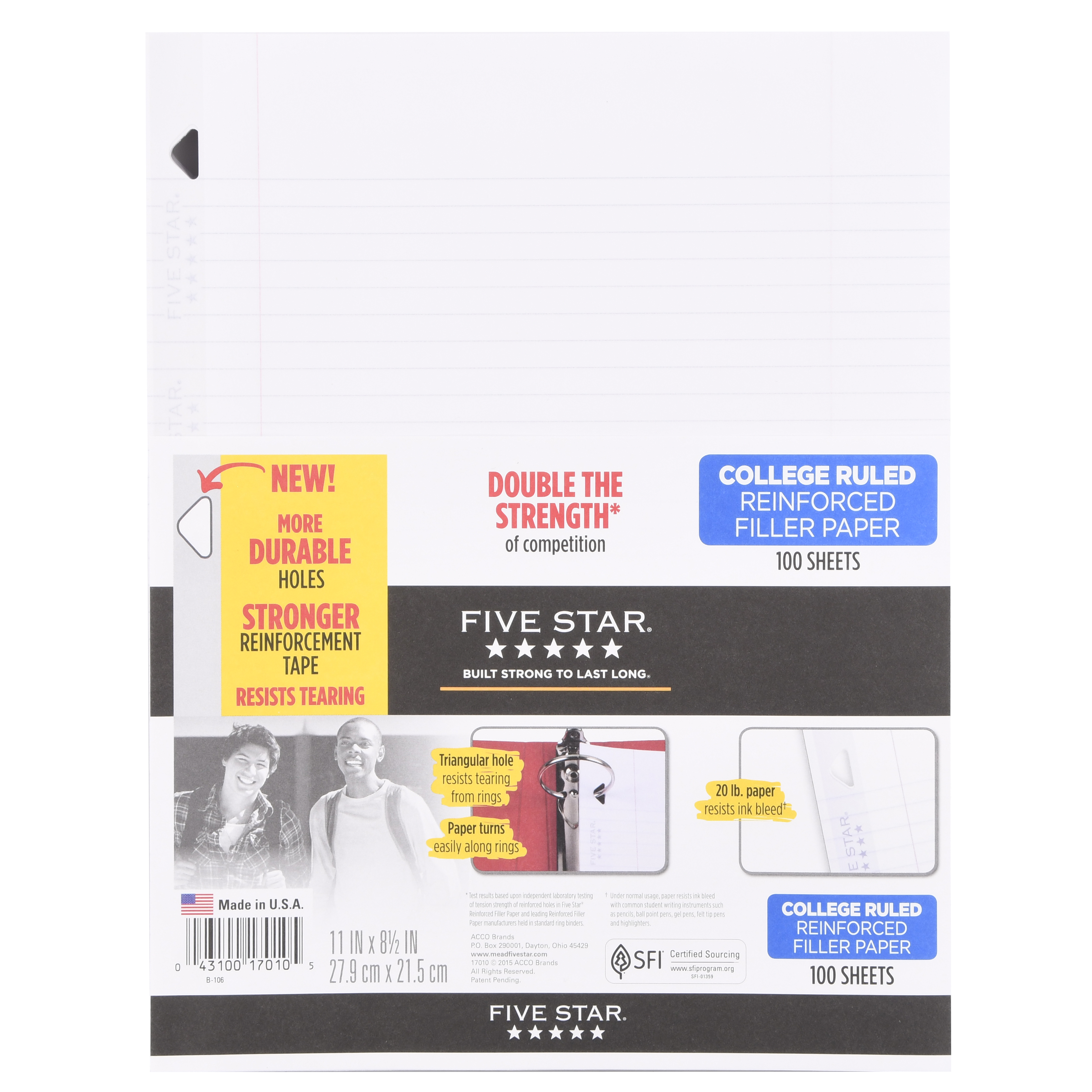"Five Star® Reinforced Filler Paper, College Ruled, 11"" x 8 1/2"", 100 Sheets/Pack"