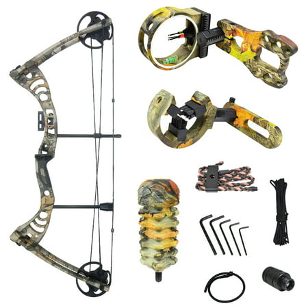 iGlow 30-55 lbs Black / Green / Camouflage Camo Archery Hunting Compound Bow 175 150 70 55 40 30 lb