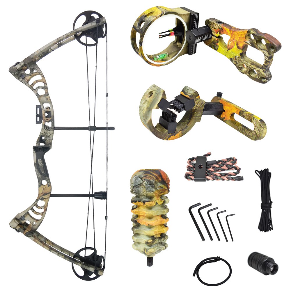 iGlow 30-55 lbs Black / Green / Camouflage Camo Archery Hunting Compound Bow 175 150 70 55 40 30 lb Crossbow