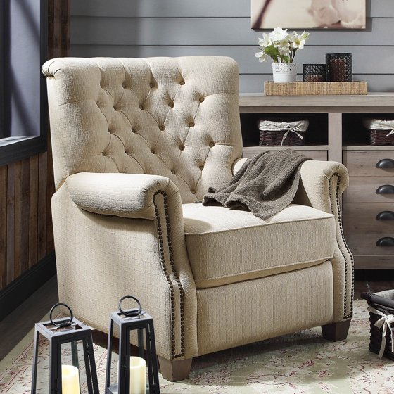 Better Homes and Garden Tufted Push Back Recliner (Beige)