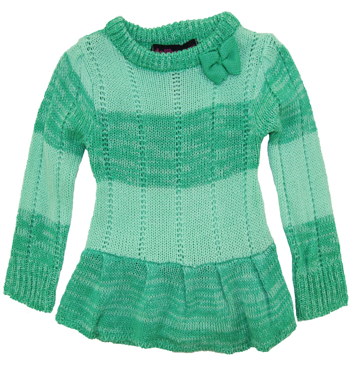 Dollhouse Baby Girls Ruffeled Pointelle Knit Cardigan Sweater with Bow