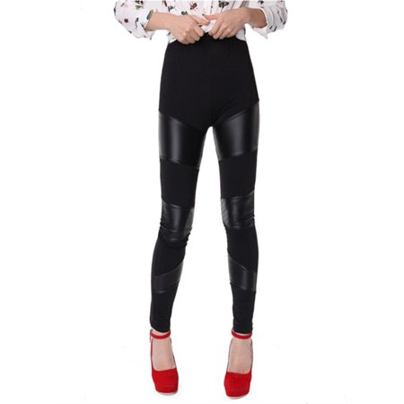 Womens Bodycon Faux Leather Leggings Stitching Stretchy Pants