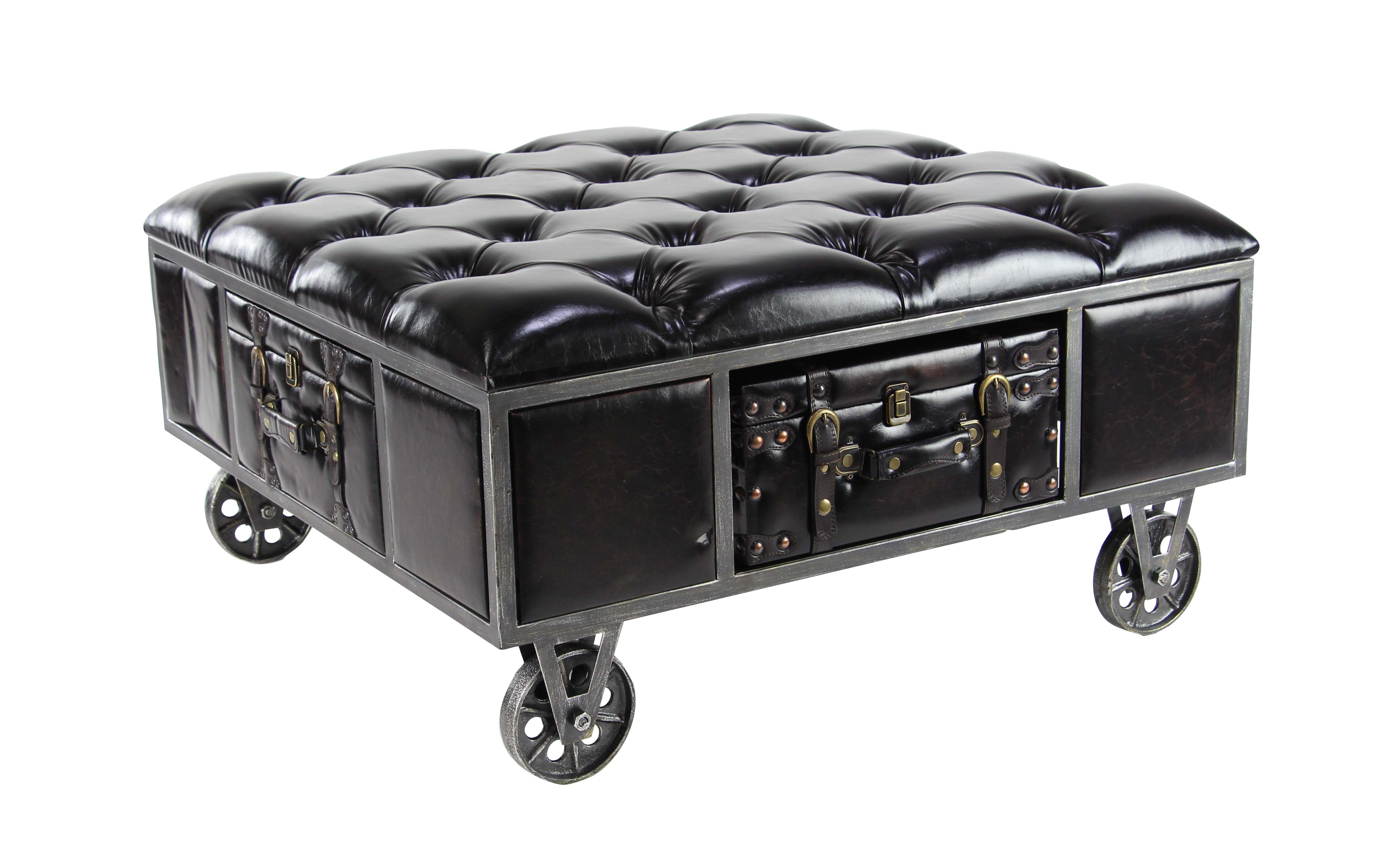 Decmode Traditional Wood And Metal Tufted Leathered Square Storage Bench,  Black