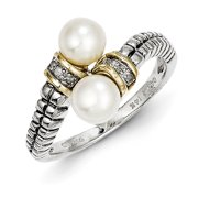Shey Couture QTC67-7 Sterling Silver with 14k Gold FW Cultured Pearl & Diamond By-Pass Ring, Size 7