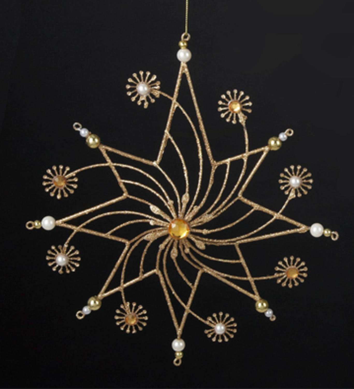 "9.25"" Gold Glittered Star with Faux Gem and Pearl Snowflake Flowers Christmas Ornament"