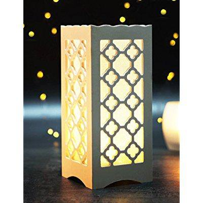 Bright Zeal Led Table Light With Flower Shaped Carving Battery Operated Timer
