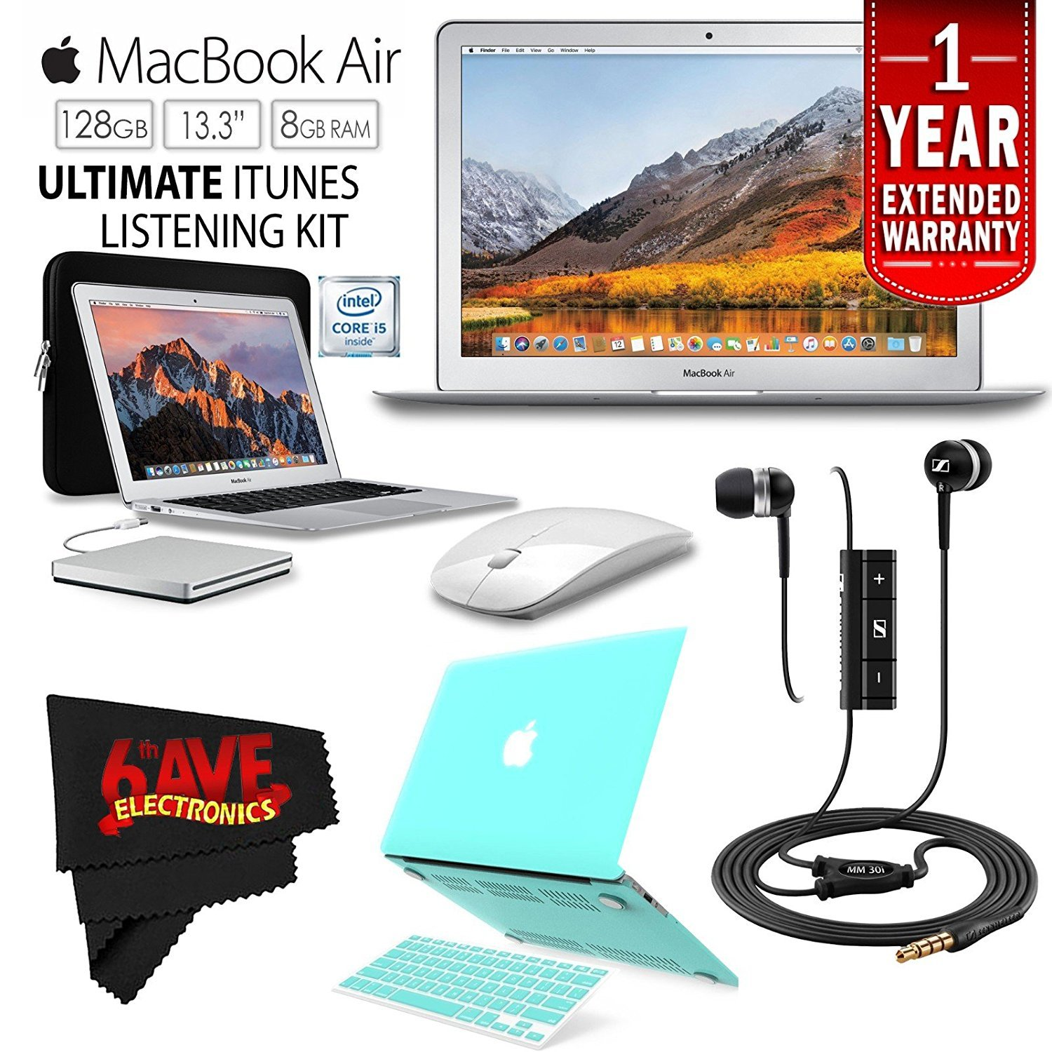 "6Ave Apple 13.3"" MacBook Air 128GB SSD #MQD32LL/A + iBenzer Basic Soft-Touch Series Plastic Hard Case & Keyboard Cover for Apple Macbook Air 13-inch 13"" (Turquoise) + Apple USB SuperDrive Bundle"