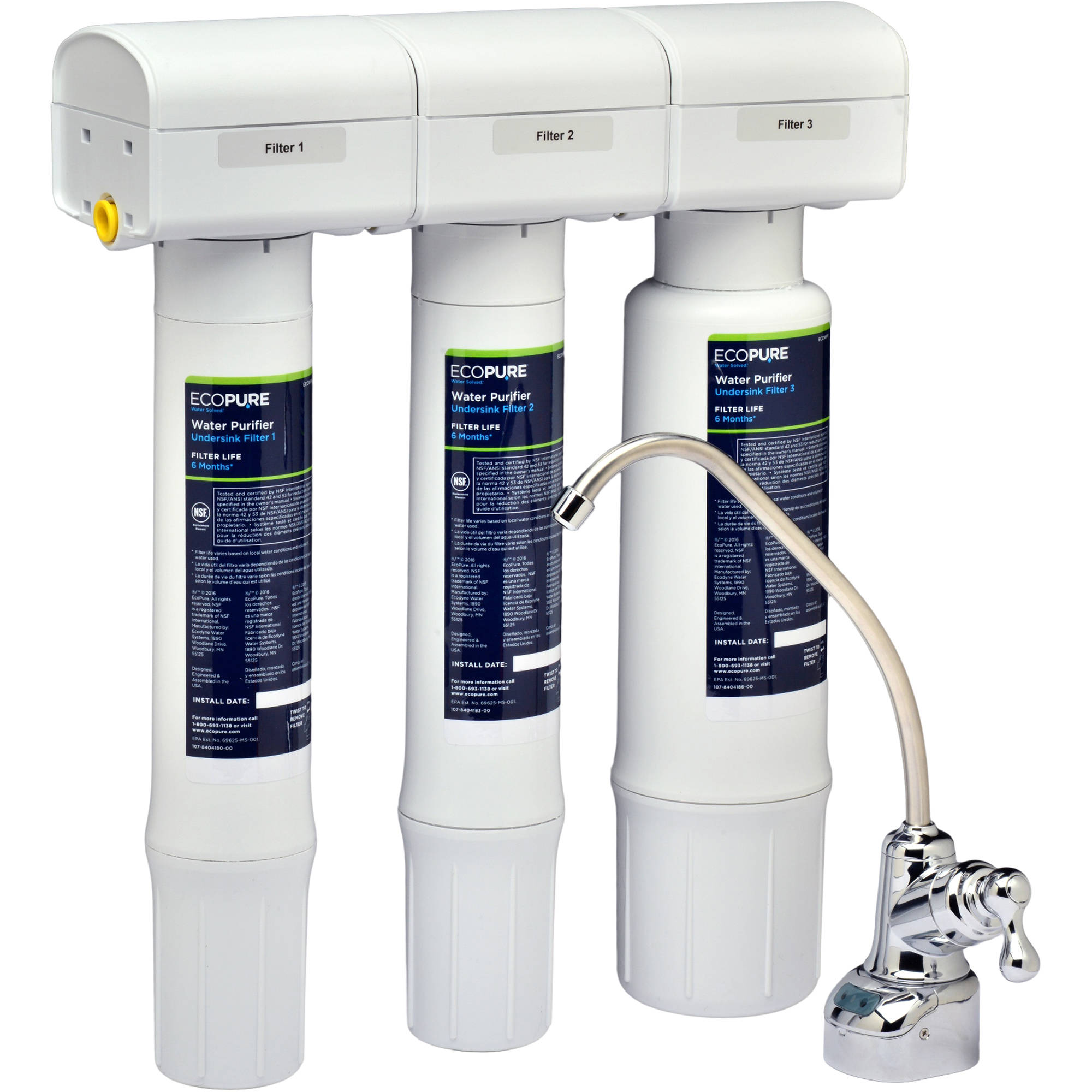 EcoPure Water Purifier Under Sink Water Filtration System (ECOP40) | NSF Certified | Safe Drinking Water Right from your Kitchen Sink
