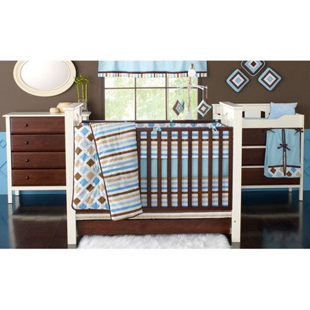 Bacati Mod Diamonds and Stripes in Aqua/Chocolate Boys 10-Piece Nursery in a Bag Crib Bedding Set with Bumper Pad for US standard Cribs