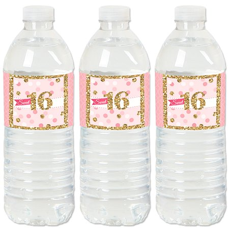 Sweet 16 - 16th Birthday Party Water Bottle Sticker Labels- Set of - Sweet 16 Birthday Ideas On A Budget