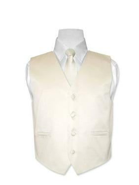 Covona BOY'S Dress Vest & NeckTie Solid CREAM Color Neck Tie Set size 14