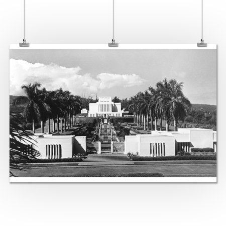 Oahu, HI View of LDS Temple Photograph (24x36 Giclee Gallery Print ...