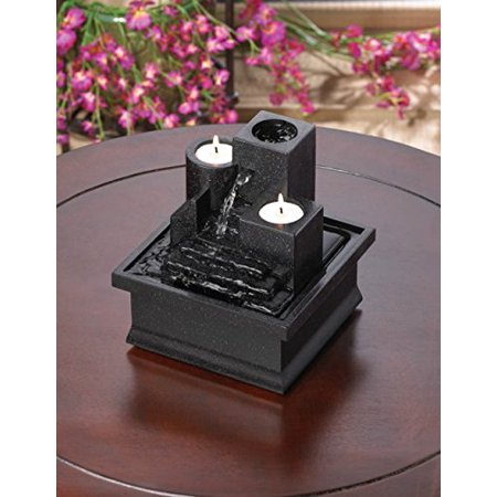 Tabletop Candle Relaxation Fountains Garden Tranquility Indoor Waterfall Home Feng Sui Outdoor Pump, Item weight: 1.2 lbs. 6 1/2