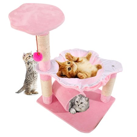 """Zimtown 28"""" Cat Tree Condo Tower with Scratching Posts Kitty Trees Play House Bed Furniture for Kittens Pink"""