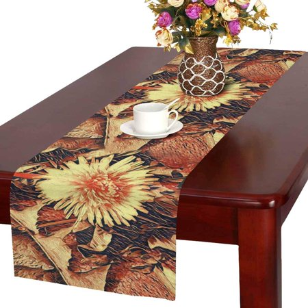 MKHERT Computer Spring Painting Yellow Sunny Dandelion On A Stone Table Runner for Office Kitchen Dining Wedding Party Banquet 16x72 Inch](Spring Table Runners)