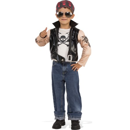 Little Biker Boy Child Muscle Chest Gangster Halloween Costume