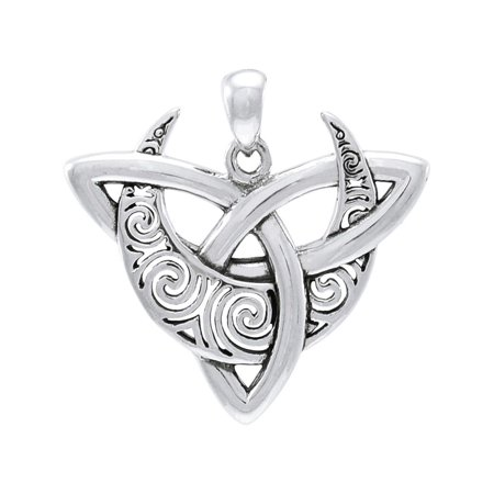 Sterling Silver Celtic Triquetra Moon Goddess Trinity Knot