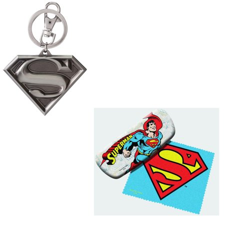 Bundle 2 Items: Superman Eyeglass Case and Pewter Keychain ()