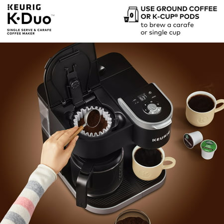 Keurig K-Duo Coffee Maker, with Single Serve K-Cup Pod and 12 Cup Carafe Brewer, Black