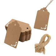 Koogel Kraft Paper Tags,100pcs Heart Kraft Paper Gift Tags Craft Hang Tags with Free 100 Root Natural Jute Twine for Gifts Arts and Crafts Wedding Holiday 100pcs Heart Kraft Paper