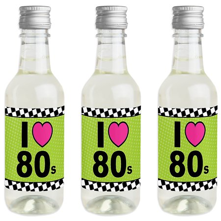 80's Retro - Mini Wine and Champagne Bottle Label Stickers - Totally 1980s Party Favor Gift for Women and Men - Set of 16 (1980s Stickers)