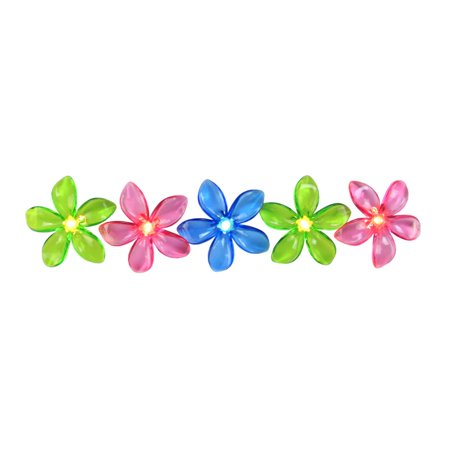 Set of 10 Pink, Blue and Green Flower Patio and Garden Novelty Christmas Lights - White Wire